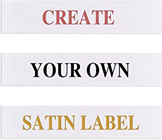 Wunderlabel Personalized Custom Customized Printed Satin Labels Crafting Craft Art Fashion Ribbon Ribbons Tag Clothing Sewing Sew Clothes Garment Label Labels Tags, 3 x .60 in; 74 x 15 mm, 25 Labels
