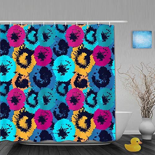 DYCBNESS Duschvorhang,Distressed Rainbow Kaleidoscope Batik Einfache abstrakte Blumen Hawaiian Summer Design Circle Mosaic,Langhaltig Hochwertig Bad Vorhang Wasserdichtes Design,mit Haken 180x180cm