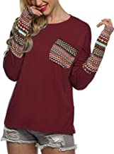 Women's Casual Top Pocket Patch Long Sleeve T Shirt with Thumb Holes