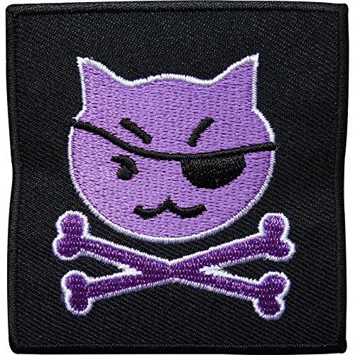 Gato Pirata Calavera Bones hierro bordado/para coser en la ropa parche insignia transferencia