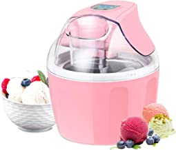 Costway Ice Cream Maker 1.5 Quart Automatic Macarons Color Ice Cream Machine, custard Frozen Yogurt Sorbet Gelato Machine with Auto Shut Off Timer, LCD Display and Mixing Paddle for Soft Serve Dessert(Pink)