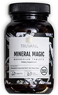 Truvani - Natural Dead Sea Magnesium Tablets (400mg) - Supports Healthy Bones | Promotes Heart Health | Promotes Sleep | Mood Support | Vegan | Non GMO | Dietary Supplement (60 Tablets)