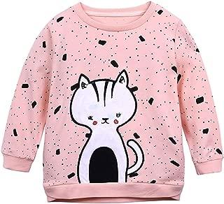 COUNTYRH Toddler Baby Girls Cat Print Sweatshirt Long Sleeves Casual Fall Winter Cotton Tops