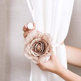 Magnetic Curtain Tie Back, Window Curtain Tieback Clip-on Rose Flower Tie Holder Drape Decor