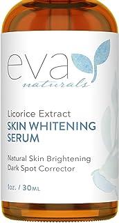Licorice Extract Skin Whitening Serum by Eva Naturals (1 oz) - Natural Skin Lightener and Dark Spot Corrector - Gently Exf...