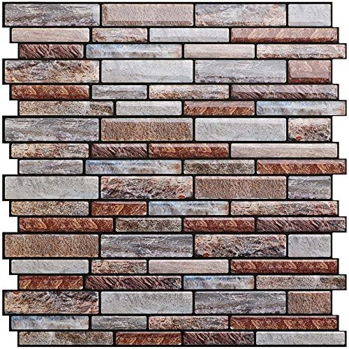 "Uoisaiko 10 Sheets Peel and Stick Tile Backsplash for Kitchen Wall Tile, Self Adhesive Stone Backsplash Subway Tile Backsplash, Stick on Tiles Kitchen Backsplash 12""x12"""