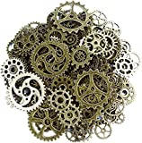 Aokbean 150 Gram Assorted Vintage Mixed Color Metal Gears Steampunk Jewelry Making Resin Charms Cog Watch Wheel (Bronze)
