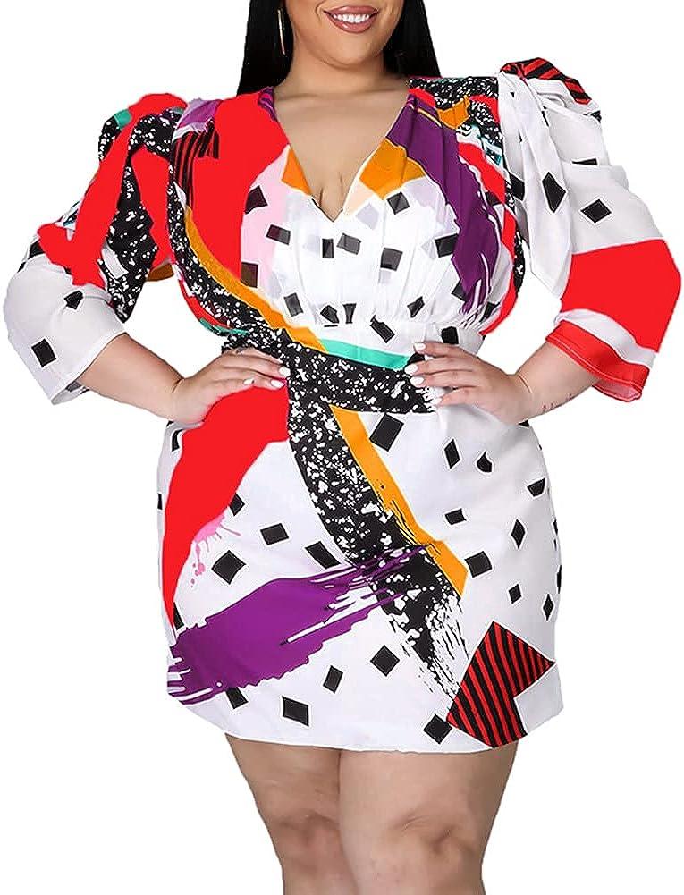 IyMoo Women's Sexy Plus Size Dress Club Hawaiian Dress Floral Print V Neck Long Sleeve Tie Dye Party Bodycon Dress