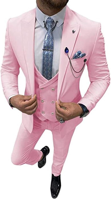 3 Pcs Peak Lapel Men Suits (Blazer+Pants+Vest) Wedding Grooms Tuxedo