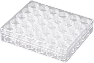 TDOTM Clear Plastic Bead Storage with 30 Pieces Storage Jars Container Bottle with Lid Embroidery Diamond Painting Transparent Accessory Box Organizer for Jewelry DIY Art Craft Nail (013)