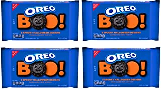 Oreo Cookies Halloween Family Size - Pack of 4 Bags - Orange Creme Filling, Limited Edition, 20 oz Per Bag