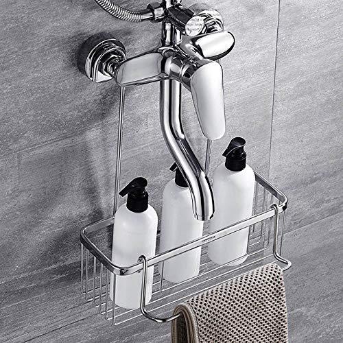 Creatieve eenvoudige badkamer plank douche kraan douchemand badkamer opslag plank Shampoo Conditioner en zeep roestvrij staal Basket With Bars