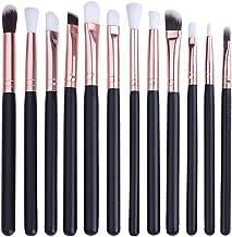 BONNIE CHOICE 12Pcs Blending Eye Makeup Brushes Set, Soft Cosmetics Eyeliner Eyeshadow Blending Eyeshadow Smoothly Brushes Tool, Black with Rose Gold