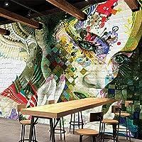 クールなレンガ壁図ステレオ壁画壁紙KTVバーカフェダイニングルームクリエイティブ背景壁壁画3D風景, 300cm×210cm