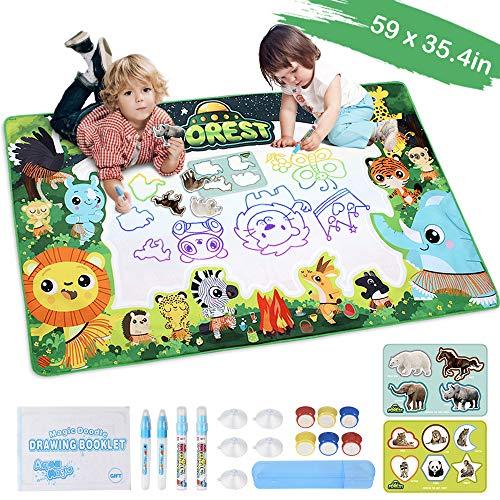 Lefree Juguete para niños de 2-12, Agua Estera del Doodle 150 * 90cm, Pintura Juegos Infantiles Estera de 2 años Pintura de los Muchachos de Libro para Colorear el Agua con 4 Plumas