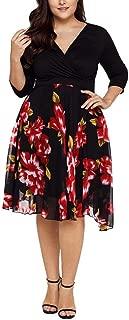 Muranba Plus Size Dress, Women's V Neck Plus Size Wrap Floral Prom Midi Dress