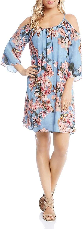 Karen Kane Womens Fresco Floral Print Cold Shoulder Party Dress