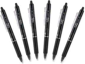 Pilot FriXion Clicker 0.7mm, Erasable Gel Pens, Fine Point, Black Ink, Pack Of 6