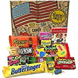 Heavenly Cesta de Dulces y Chocolate Americanos - Set de Marcas Clásicas de USA, Surtidos Originales, Regalo Perfecto para Niños, Adulto - Cumpleaños, Navidad - 13 Dulces, Pack de 25x18x2,5cm