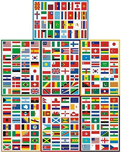 Sourcemall 224 Aufkleber, Verschiedene Länder, Inseln und Territorien, selbstklebend
