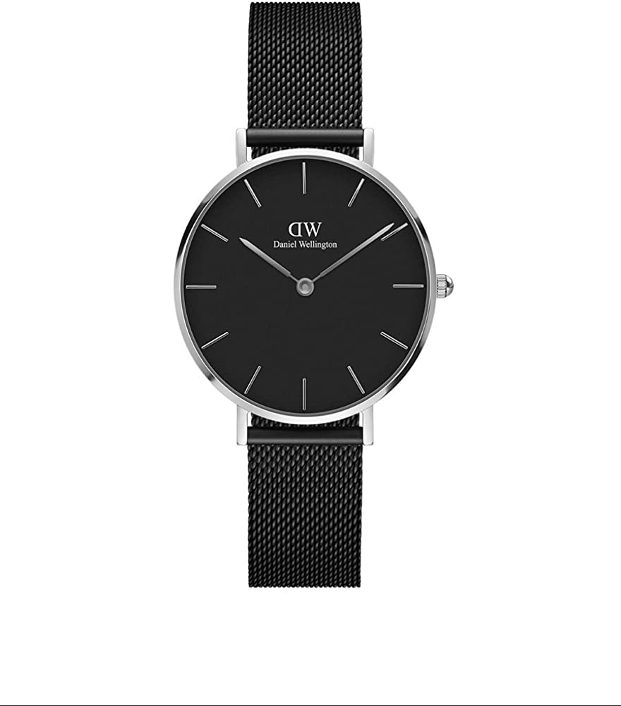 Daniel wellington petite ashfield - orologio da donna, colore: nero/argento in acciaio DW00100202