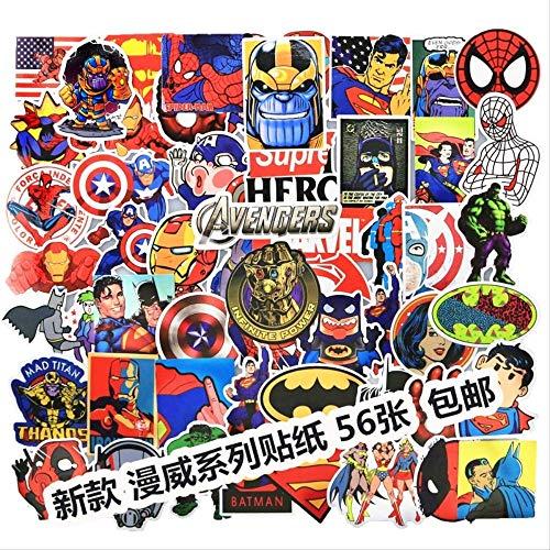 ZAQQ 56 Sheets Of Avengers Superhero Stickers Dc Marvel Iron Man Superman Suitcase Suitcase Notebook