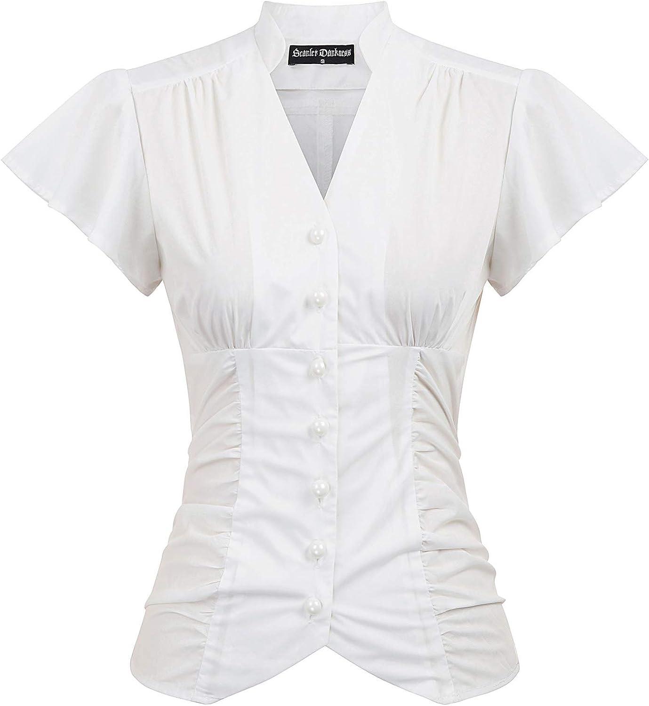 Women's Victorian Blouse Shirt Vintage Flutter Sleeve Ruched Tops