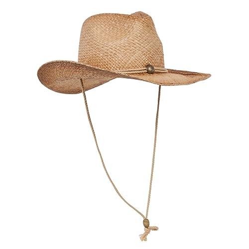 0113c200 MG Tea Stained Raffia Straw Cowboy Hat