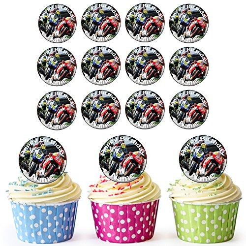 Decoración comestible para cupcakes de Moto GP (24 unidades, personalizable)