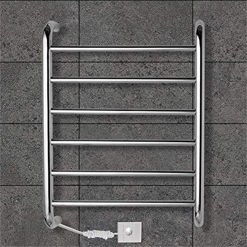 Toallero Eléctrico Bajo Consumo Calentador de toallas, calentador de toallas, calentador de toalla eléctrica Radiador Radiador de la pared de ahorro de energía 60W con 6 barras climatizadas IP55 Secad
