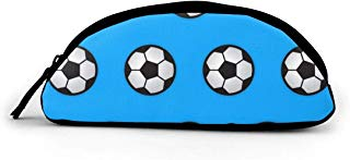 WEEDKEYCAT Soccer Ball Blue Semicircle Travel Cosmetic Bag Pen Pencil Portable Toiletry Brush Storage,Multi-Function Makeup Carry Case with Zipper