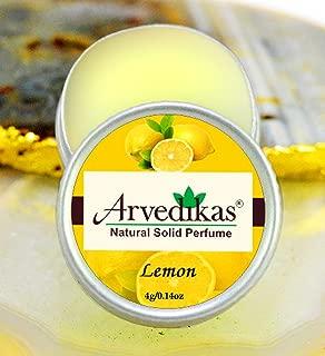 Arvedikas Lemon Natural Solid Perfume Beeswax/Mini Jar/Essential Oil Blend Perfume/Organic Vegan Travel Perfume/Pocket Size Compact Cologne/Scented Balm/Skin Friendly / 4gm (23 Varieties)