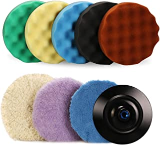 SPTA 7''/180mm Polishing Buffing Pad Kit with 5 Waffle Foam 1 Wool Grip Pad and a 5/8