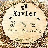 birth plate birthday Natalicio, Placa nacimiento bebé personalizada redondo madera de haya 20cm de diametro hecho a mano...