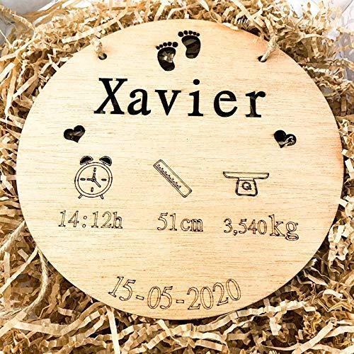 birth plate birthday Natalicio, Placa nacimiento bebé personalizada redondo madera de haya 20cm de diametro hecho a mano handmade