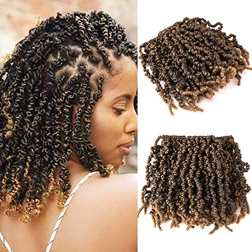 3 Packs Short Curly Spring Pre-twisted Braids Synthetic Crochet Hair Extensions 10 inch 15 strands/pack Ombre Crochet Twist Braids Fiber Fluffy Curly Twist Braiding Hair Bulk (T1B/27#)