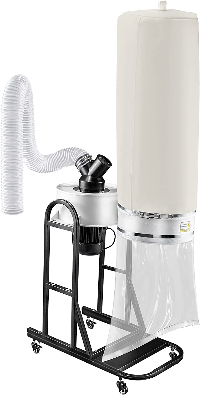 VEVOR 1.5 HP Dust Collector, 647 CFM Portable Vortex Dust Collector, Woodworking Dust Collector with 13.2-Gallon Collection Bag and Mobile Base, 220V Dust Collection System 25-Micron Canister Kit - -