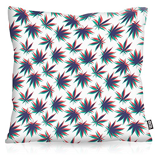 VOID Cannabis Stereo Cojín con Dibujo Funda de cojín Funda para Outdoor Indoor música Jamaica grifa Bob Reggae no Woman Marihuana, Kissen Größe:60 x 60 cm
