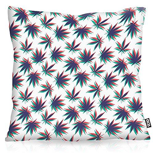 VOID Cannabis Stereo Cojín con Dibujo Funda de cojín Funda para Outdoor Indoor música Jamaica grifa Bob Reggae no Woman Marihuana, Kissen Größe:80 x 80 cm
