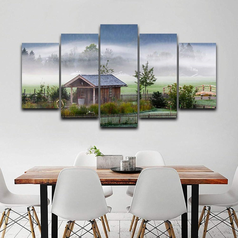 comprar mejor WZYWLH Cartel de de de Arte de la Parojo Decoración del hogar Moderno 5 Panel Casa Paisaje Lienzo de la Sala HD Impresión de Cuadros modulares Marco de Pintura  ventas al por mayor