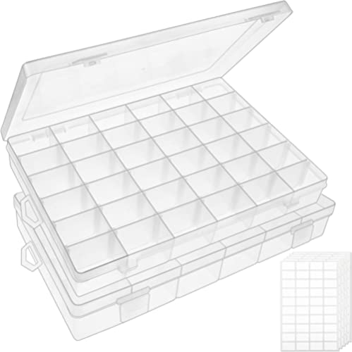 Outuxed 2pack 36 Grids Clear Plastic Organizer Box Storage Container Jewelry Box with Adjustable Dividers for Beads A...