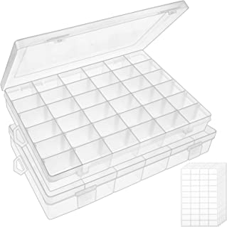 Outuxed 2pack 36 Grids Clear Plastic Organizer Box Storage Container Jewelry Box with Adjustable Dividers for Beads Art DI...