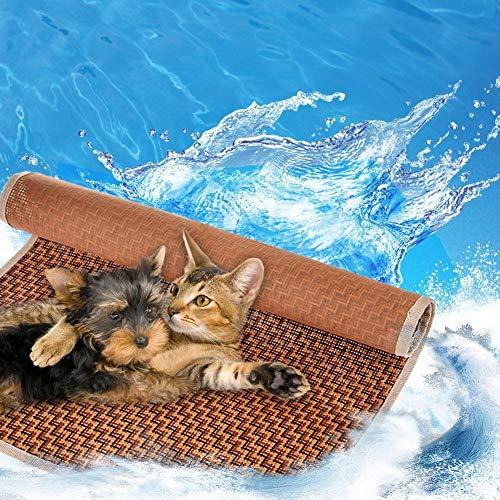 Cama para Mascotas Alfombra De Enfriamiento para Mascotas Bambú Cojín Summer Mat Cat Sleeping Cool Mat Enfriador Portátil para Mascotas, Alfombrillas para Perros, Enfriador De Cama