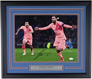 Lionel Messi FC Barcelona Signed Framed 12x16 Pink Jersey Photo JSA