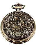 AMPM24 Bronze Men's Dragon & Phoenix Dangle Pocket Quartz Watch + Gift WPK062