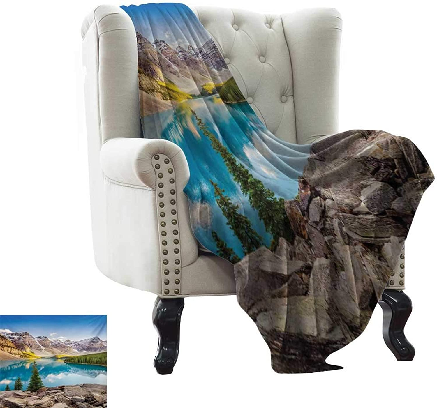Acelik Lightweight Blanket Landscape Idyllic View of Moraine Lake at Sunset in Canadian Rocky Mountain Range Picture Print Summer Quilt Comforter W35 x L60 Inch Multicolor