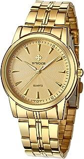 Men's Quality Watch Luxury Analog Quartz Business Casual Stainless Steel Fashion Wristwatch Waterproof Watch for Men(Gold & Blue & Black)