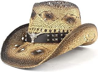Sun Hat for men and women Cowboy Hat For Men Western Jazz Hat With Bull Head Wide Brim Western Straw Beach Sun Cap