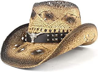 Sun Hat for men and women Cowboy Hat For Men Western Jazz Hat With Bull Head Wide Brim Western Straw Beach Sun Cap
