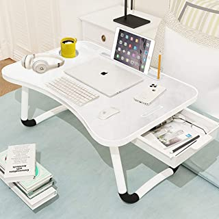 BESTY HOME Multi-Purpose Laptop Table with Drawer, Dock Stand, Study Tablet and Cup Holder, Bed Laptop Table, Foldable and...